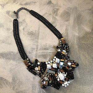 Nocturne Statement necklace - Black white gold